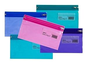 Snopake 240x130mm Dl Electra Zippa Bag 'S' - Transparent/ Assorted (Pack of 5)