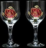 Pair of Wine Glasses in Mackintosh Pink Rose Design. Handpainted and designed in the UK by Beverley Gallagher, these significant and expressive gifts are ideal for Christmas, Valentine's Day, Mother's Day, Easter, birthdays, anniversaries, weddings, hand