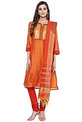 Trishaa by Pantaloons Women's Straight Salwar Kurta Dupatta ( 205000005652165, Yellow, Medium)