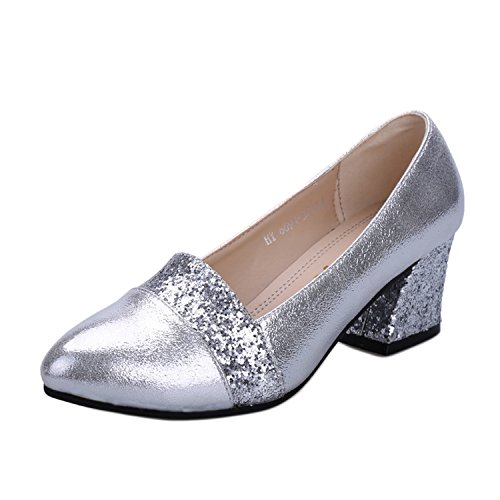 Akar Women Pointed Closed Toe Comfy Pumps Drill Chunky Wedges Non-slip OL Shoes Silver US9/AU9/UK7/EURO39/CN41 (Drill Wedge compare prices)