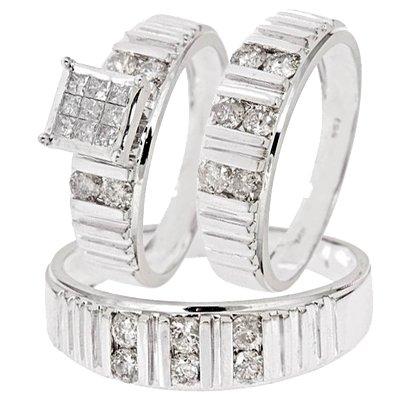 1 1/3 Carat Diamond Trio Wedding Ring Set 14K White Gold