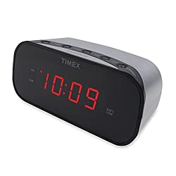 Timex Alarm Clock with 0.7-Inch Red Display in Silver