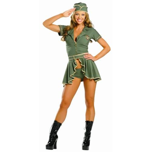 Sexy   Costumes: Hot Girls in 4 Piece Pin-Up Army Girl Costume