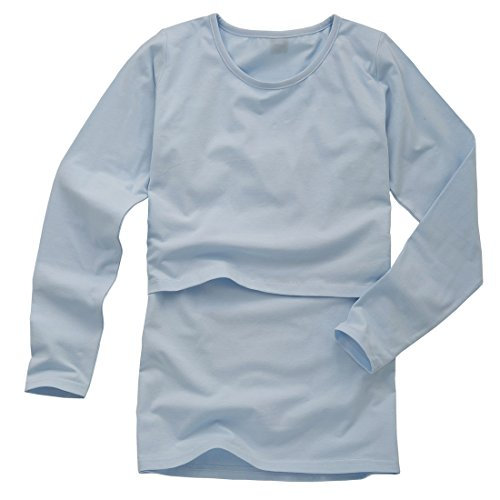 Nursingwear for breastfeeding in Organic Cotton,long Sleeves Top (M, Blue)