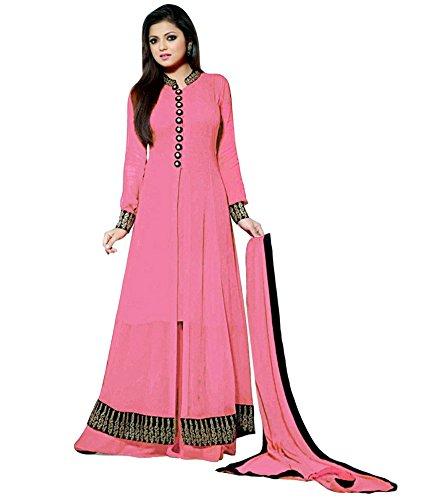 Leela Creators Women's Light Pink Georgette Semi-Stitched Salwar Suits (Free Size_Pink_08)