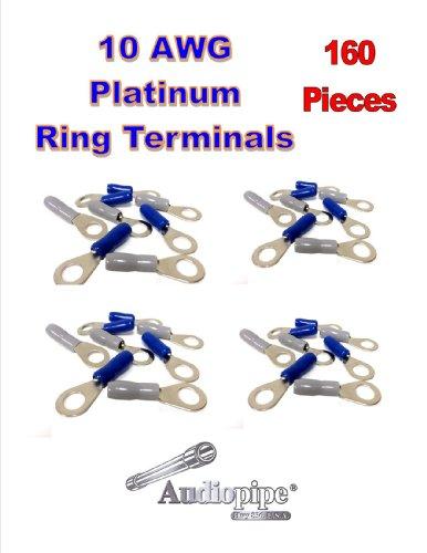 """10 Gauge Positive Negative 5/16"""" Hole Ring Terminals Connectors 160 Pieces Pbtrp-10"""