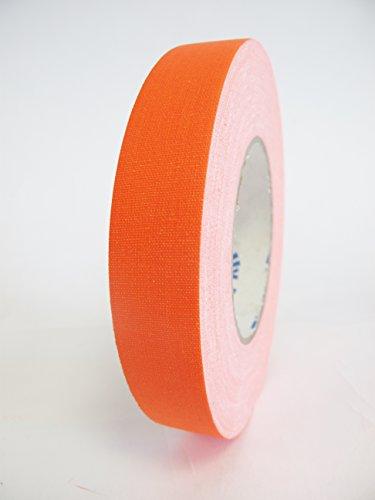 6 Rolls Premium Professional Grade Gaffer Tape 1 Inch X 50 Yards - Fluorescent / Neon Orange Color - 6 Rolls Per Case