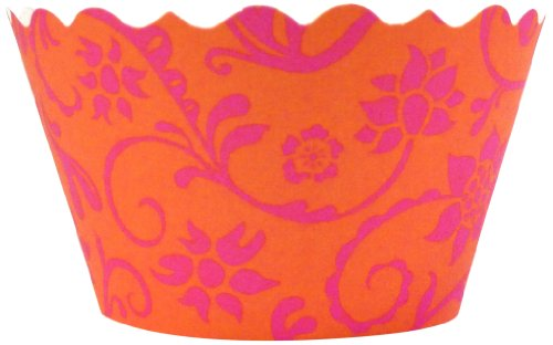 Bella Cupcake Couture 100-Pack Hannah Floral Cupcake Wrappers, Mini, Citrus/Pink front-912083
