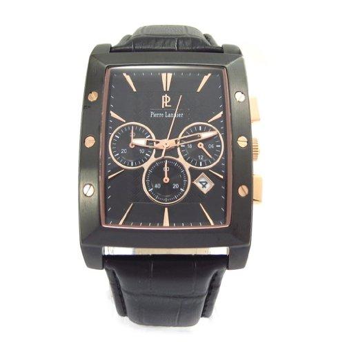 Reloj de pulsera para los hombres 'Pierre Lannier' revestido con cobre apretado acero negro (mpt).