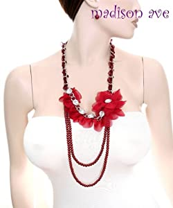 Fine Red Pearl Rhinestones & Flower Necklace & Earring Set