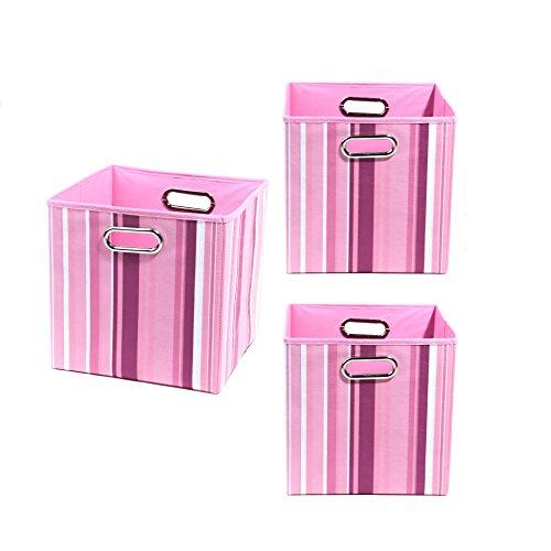 Modern Littles Organization Bundle-3 Storage Bins, Rose Stripes