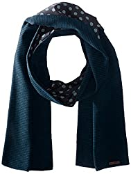 Ted Baker Men's Woven and Knitted Scarf, Navy, One Size