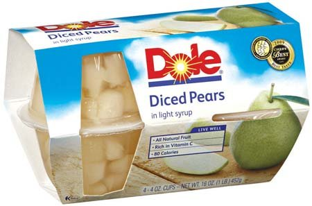Dole Diced Pears Fruit Bowl in Light Syrup 4 4 oz cups Pack of 6