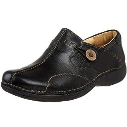 Clarks Unstructured Women\'s Un.Loop Slip-On,Black Leather,6 M US