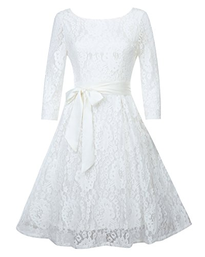 OUGES Women's Round Neck Half Sleeve Flare Lace Party Dress(White,S)