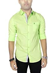 AA' Southbay Men's Fluorescent Green Cotton Long Sleeve Self Party Casual Shirt