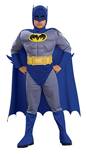[Deluxe Boy's The Brave and The Bold Batman Muscle Chest Costume TODDLER] (Bold Jumpsuit Costumes)
