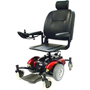 Drive Medical Intrepid Mid-Wheel Power Wheelchair Pan Seat, Red, 18 Inch