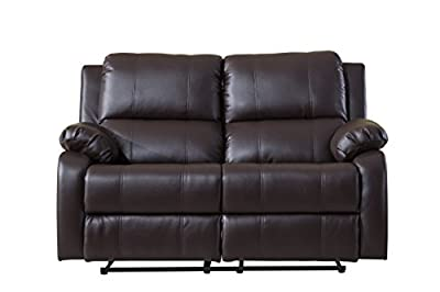 Classic Bonded Leather Oversize Double Recliner Loveseat
