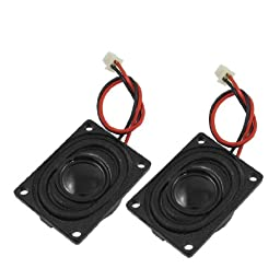 uxcell® 2 Pcs 2W 8 Ohm Internal Magnet Speaker 27mm x 20mm w Cable