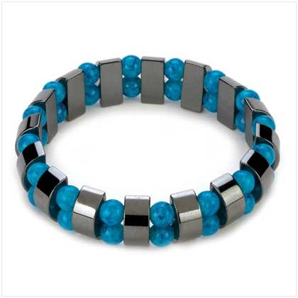 Magnetic Hematite and Genuine Turquoise Beaded Stretch Bracelet