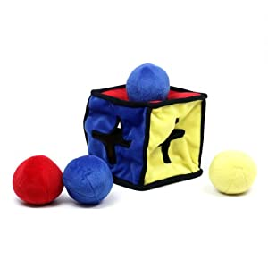 Kyjen PP01073 I-Qube Dog Toy Puzzle Plush Interactive 5-Piece Squeaky Dog Toys, Large, Multicolor