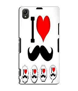 EU4IA I love Moustache Pattern With Red Heart MATTE FINISH 3D Back Cover Case...