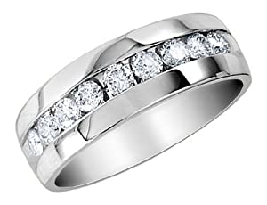 14K White Gold Mens Diamond Wedding Band 1/4 Carat - Gay Wedding Band