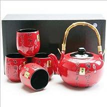 Japanese Tea Set Teapot Teacup Red kanji