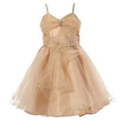 Girls Satin/Tulle Glittering Lace-Up Spaghetti Strap  Dress With a Sash