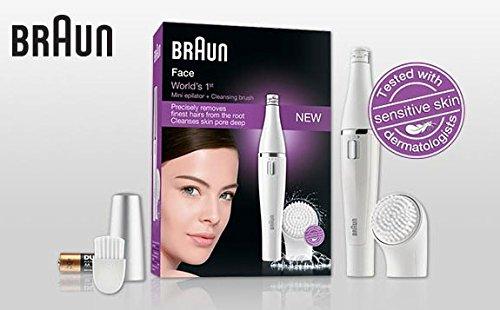 Braun Face Platinum Beauty Pack, 1 Facial Epilator, Beauty Sponge, 4 Facial Brushes, Lighted Mirror, and Battery BONUS 33 Olay Daily Facial Cloths