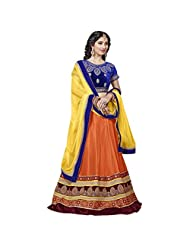 Orange And Blue Heavy Net And Velvet Designer Lehenga Choli Semi Stitched