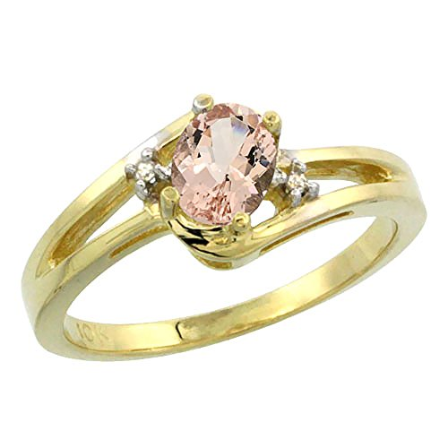 10K Yellow Gold Natural Morganite Ring Oval 6x4mm Diamond Accent, size 8.5