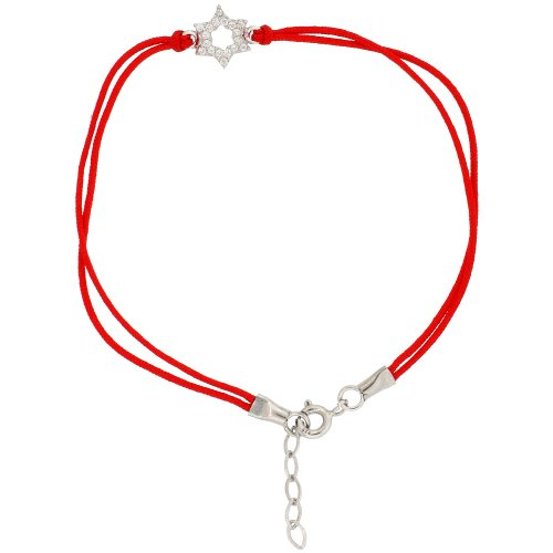 6.5 in. Red Silk Bracelet w/ Sterling Silver Jeweled Star of David Charm, w/ 1 in. Extension
