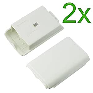 Gt Max 2x White Battery Cover For Microsoft Xbox 360