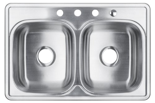 "Great Features Of AKDY 33""X22"" AKT3322D074 T-304 STAINLESS STEEL TOP MOUNT DROP IN 50/50 D..."