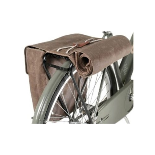Brooks Saddles Brick Lane Canvas Roll-Up Pannier with Leather Belts (Moss)