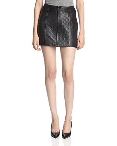 LaMarque Women's Quilted Leather Skirt  [Black]