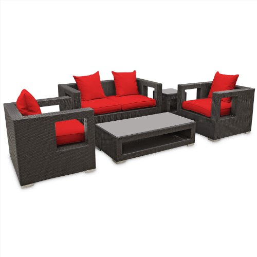 LexMod Lunar Outdoor Wicker Patio 5 Piece Sofa Set in Espresso with Red Cushions
