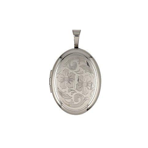 Oval Shape Flower Design Sterling Silver Locket