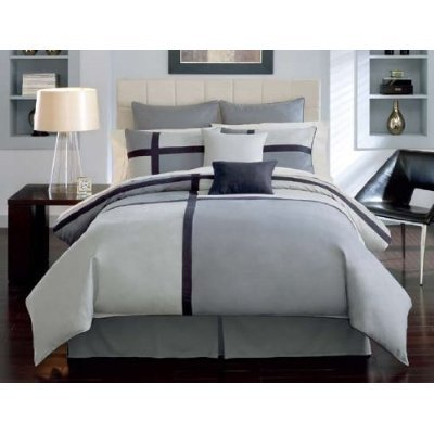 8 Pieces Soft Microsuede Black and Grey Patchwork Duvet Cover Set Queen