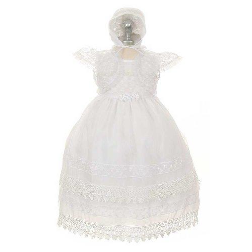 Rain Kids White Organza Floral Baptismal Dress Baby Girl 6M