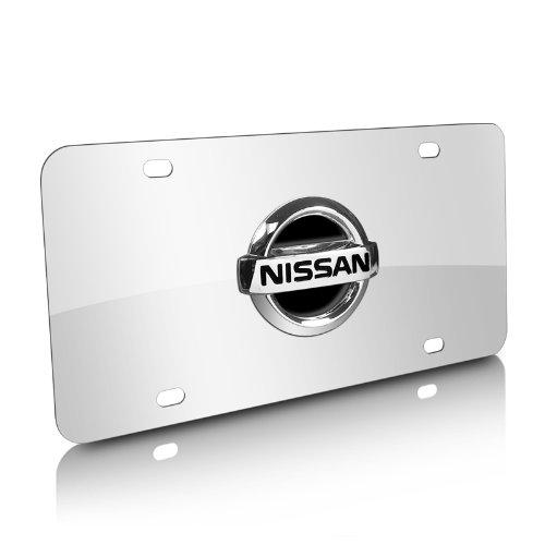 Nissan Black Infill 3D Logo Chrome Steel License Plate (Nissan Chrome License Plate compare prices)