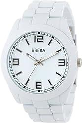 Breda Men's 8152-white Charlie White Oversized Brushed Metal Band Watch