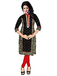 Trendistan Women's Cotton Straight Kurti(bb5l_Black_L)
