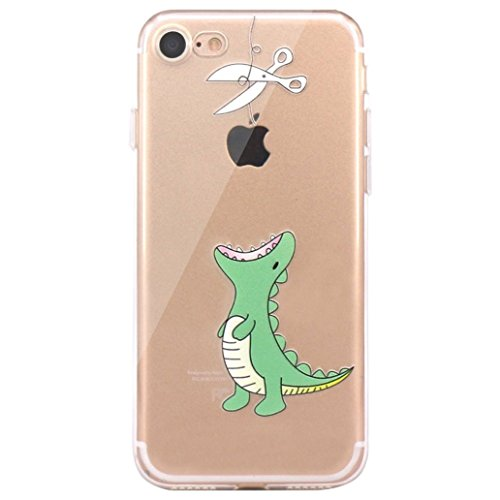 "Yoowei® iPhone 7 Case, Cute Cartoon Pattern Design Ultra Slim Crystal Clear Silicone Gel Soft TPU Cover Jelly Protective Bumper Back for iPhone 7 4.7"", Animal Series Green Dinosaur"