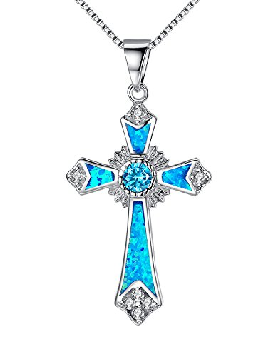 sterling-silver-fleur-de-lis-celtic-cross-with-blue-green-fire-opal-inlay-and-cubic-zirconia-pendant