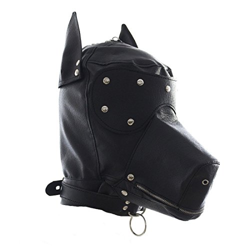 [FeiGu Black Faux Leather Bondage Gimp Mask Dog Puppy Head Hood T4] (The Gimp Costume)