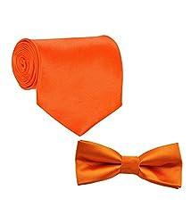 Greyon Orange Neck Tie With Bow Toe Combo (GNA010)