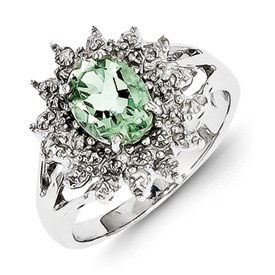 Genuine IceCarats Designer Jewelry Gift Sterling Silver Rhodium Green Amethyst & Diamond Ring Size 7.00